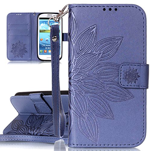 ISAKEN Kompatibel mit Galaxy S3 Hülle, PU Leder Flip Cover Brieftasche Ledertasche Handyhülle Tasche Case Schutzhülle mit Handschlaufe Strap für Samsung Galaxy S3 Neo / S3 - Blume Dessin Dunkelblau - Neos Blume