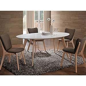 JUSThome Montana Table de salle à manger Blanc Chêne 75 x 90 x 160 cm