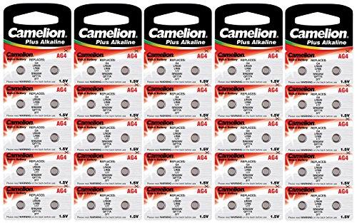 Camelion 12001004B50 Plus Alkaline Knopfzelle (AG4, LR66, LR626, 377, 50er-Pack, Blister)