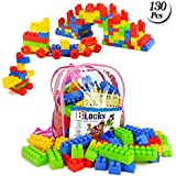 Building Blocks For Toddlers 130 Pcs Construction Blocks Bricks 3D Puzzles With Cute Backpack Kids Toy Set Gift Toys For Girls Boys Kids 3+