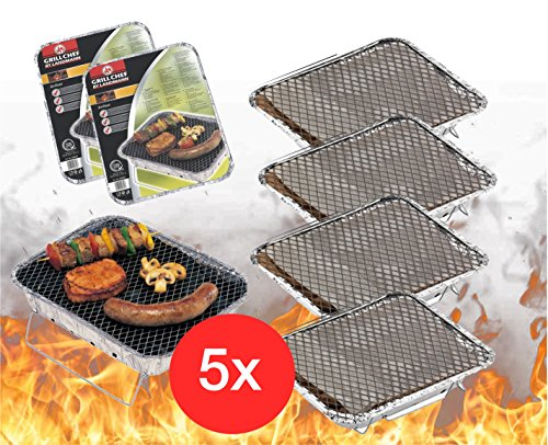 TK Gruppe Timo Klingler 5x Einweggrill Einmalgrill Campinggrill Holzgrill Grill aus Aluminium zu Grillen Aluschale mit Kohle Holzkohle Picknickgrill Holzkohlegrill Grillkohle