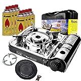 RS-7000 Campingkocher Turbo Gaskocher + 8X Gaskartuschen + PH-T01 Herdkreutz + Grillplatte 2tlg.