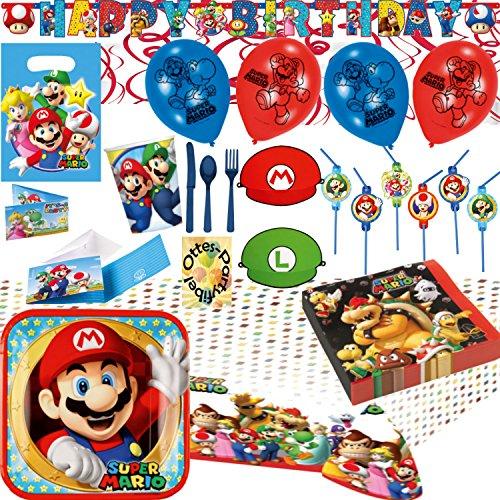 Super Mario Party-Set 112tlg. Teller Becher Servietten Tischdecke Tüten Einladung Trinkhalme Banner Hüte Luftballons Besteck Spiralen für 8 Kids (Mario Luigi Und Geburtstagsparty)