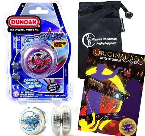 Duncan PULSE LED YoYo (Rouge) Pro String Trick Lumineux Yo Yo (BATTERIES INCLUS!) + Original Spin YoYo Tricks DVD (75 Trucs pour apprendre, en anglais) + Sac de Voyage! Pro Yo-Yo pour les enfants et les adultes!