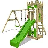 FATMOOSE Parque infantil de madera TreasureTower con columpio y tobogán manzana verde, Torre de escalada de exterior con aren