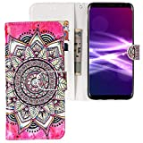 CLM-Tech kompatibel mit Samsung Galaxy S9 Plus Hülle, Tasche aus Kunstleder, Blume Kreis rosa schwarz Mehrfarbig, PU Leder-Tasche für Galaxy S9 Plus Lederhülle
