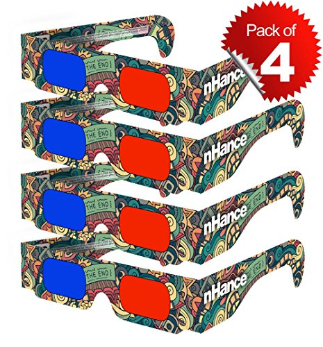 Domo 3D Glasses For Mobile Phone, Computer, Laptop, Tv, Projector And Magazines For Anaglyph 3D Video Passive Cyan And Magenta Red & Blue Paper 3D Glasses (Pack Of 4 Pcs)  available at amazon for Rs.99