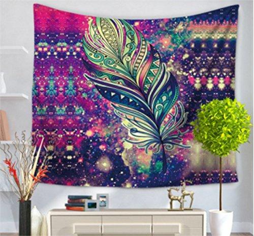 Tapiz Pintado plumas Mandala Impresión étnico colgante de pared playa alfombra, 59W X 51L), 1, 59 x 51 inch