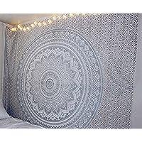 Tapestry Mandala Original Silver Indian Cotton Wall Hanging By RaajseeHippie Bohemian Elephant Peacock Dorm