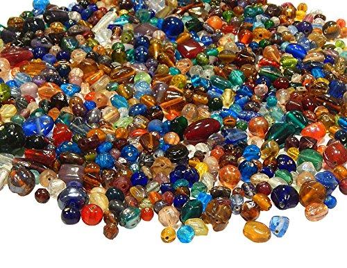 250g Glasperlen Mix Kit Glas Kinder Perlen zum Fädeln Silberfolie Lampwork Glasschliffperlen Feuerpoliert Rund Kugel Bunt Perlenset Bastelset zur Schmuckherstellung von Halsketten Armband (250)