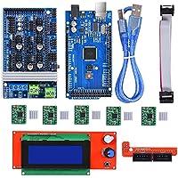 BIQU Mega2560 Control Board + LCD 2004Graphic Smart Display Controller Module + Ramps 1.6 Mega Shield + A4988 Stepstick Stepper Motor Driver con Fregadero Calor para Impresora 3D Arduino Reprap