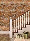 Brick Wallpapers for Wall | Best for Living Room and Home Décor | Size: (3 Tiles / 5.5 SqFt) | High Quality Stone Brick Wall Effect Pre Gummed Wallpaper (Self Adhesive) by Paper Plane Design (PPD)