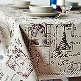 Ingoo cucina sala da pranzo tovaglioli, classica in cotone e lino tovaglia antimacchia rettangolare resistente per tavolo da pranzo di nozze pic-nic, Tower Style, 52x70''/132x178cm