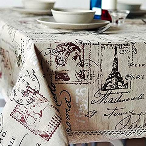 Table Cloth, InGoo Cotton Linen Fabric Elegant Classic Rectangular Table Covers, Durable Stain Resistant Tablecloths Tablecover for Decor Kitchen Dining Wedding Party Picnic Outdoor(60x120''/145x305cm, Tower