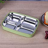 FWQPRA 4 Grid Stainless Steel & Plastic Bento Lunch Boxes For Kids Lunch Box Picnics Food Container