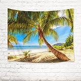 EOB Tapisserie Wandbehang,Palmen an Strand ANSE Volbert auf Praslin-Insel,Seychellen Kunstdruck-Tapisserie-Hauptdekoration für Schlafzimmer-Wohnzimmer-Schlafsaal,200x150cm