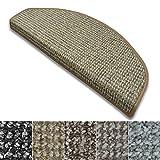 casa pura Stufenmatten Carlton | Flachgewebe dezent gemustert | Treppenteppich in zwei Formen | mit Teppich Läufer kombinierbar (Beige - halbrund - 15 Stück)