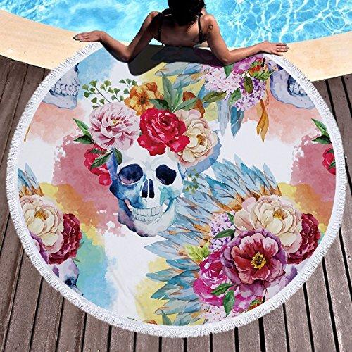 Blume Skull roundie Strand werfen Gobelin Hippie Boho Gypsy Baumwoll Strand Handtuch, Yoga-Matte, Wandteppich, Picknick-Matte, Tisch zu werfen, Tischdecken, Picknick Tuch Schal Skull2 150x150 cm (Bett Nautische Bettdecken)