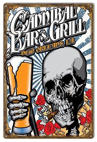 Norma Lily Cannibal Bar und Grill New Orleans Day of The Dead Garage Art Metall Schild, 12x 18Aluminium Schild.