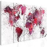 decomonkey Bilder Weltkarte 225x90 cm 5 Teilig Leinwandbilder Bild auf Leinwand Vlies Wandbild Kunstdruck Wanddeko Wand Wohnzimmer Wanddekoration Deko Modern Weiß Rot Rosa Aquarell Textur