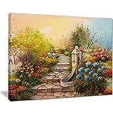 designart Stein Treppe in Forest L & Scape Malerei Metall Wand Kunst–mt8552, 40x30