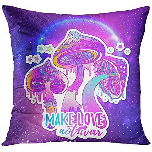 Deglogse Throw Pillow Cover Magic Mushrooms Psychedelic Hallucination Vibrant 60S Hippie Colorful in Pink Pastel Goth Colors White Decorative Pillow Case Home Decor Square es ()