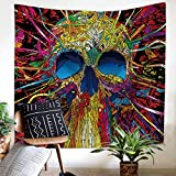 """3D Cartoon Skull Tapestry Halloween Decor Gothic Skull Tapestries Magical Skeletons Colorful Wall Hanging Indian Home Decor Bohemian Wall Art for Living Room, Bedroom, Dorm, 59""""x 51"""" by ZHH"""