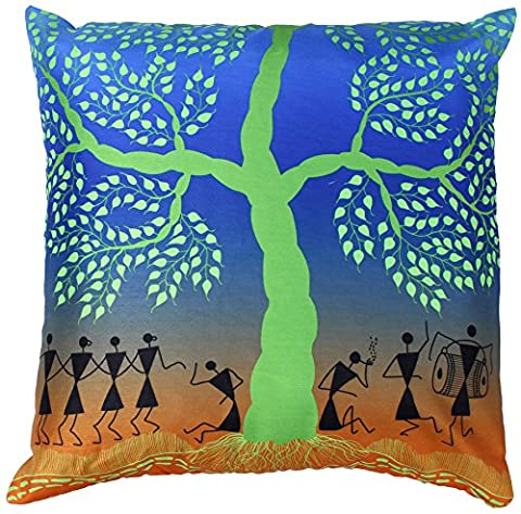 45x45 Cushion Cover - SouvNear Warli Tribal Art - Decorative