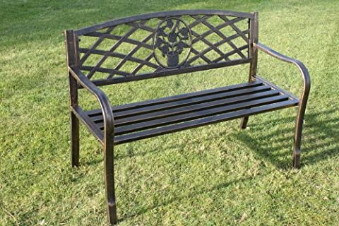 Olive Grove Metal Garden Bench with Cast Iron Floral Pattern Insert