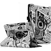 Fintie iPad Air 2 Funda - Giratoria 360 grados Smart Case Funda Carcasa con Función y Auto-Sueño / Estela para Apple iPad Air 2 (iPad 6th Generación 2014 Versión) 9.7 Inch iOS Tableta, Newspaper