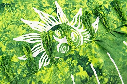 ManuMar Damen Sarong | Pareo Strandtuch | Leichtes Wickeltuch mit Fransen-Quasten Mini-Rock 55x155 cm Hell-Grün Sonne
