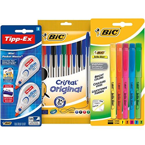 BIC 942147 Schreibwarenset - Kugelschreiber, Textmarker und Korrekturroller