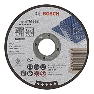 Bosch 2 608 603 512 – Disco de corte recto Best for Metal – Rapido – A 60 W BF, 115 mm, 1,0 mm (pack de 1)
