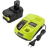 Powilling 18V 5,0Ah Li-ion Remplacement de Batterie + Chargeur pour Ryobi 18V ONE + P108 P107 P104 P105 P102 outils P103 (Compatible avec 260051002 P117 P118 P113 BCL1418)