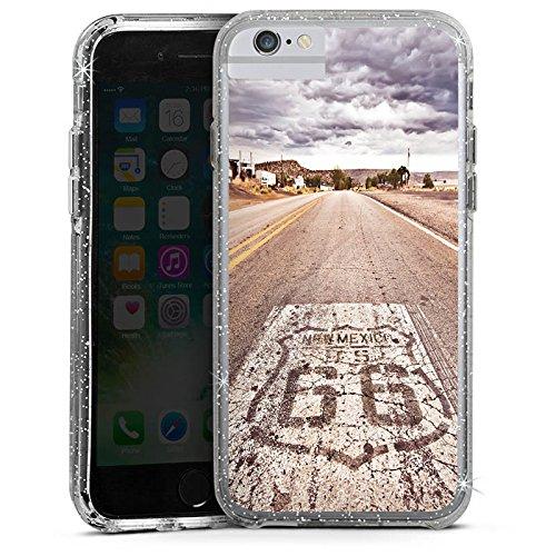 Apple iPhone 7 Plus Bumper Hülle Bumper Case Glitzer Hülle Usa Biker Strasse Bumper Case Glitzer silber