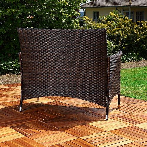 Rattan Gartenbank schwarz/braun mit Auflage Sitzbank Polyrattan Sitzkissen Sofa - 5
