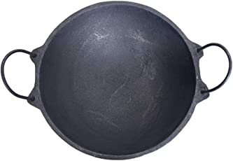 The Indus Valley Cast Iron Kadai Large (Pre Seasoned | 2.5 Litre | 11 inches Diameter) Perfect for 5 Member Family
