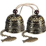 Chuangdi 2 Stücke Fengshui Glocke Vintage Dragon Bell Fengshui Windspiele für Hausgarten Hängen Glück Segen -