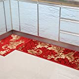 KaO0YaN Estera de Puerta, Soporte Antideslizante, Interior/Exterior Alfombra alfombras de Cocina Antideslizante Resistente al Desgaste, 50 cm × 120 cm, Rojo