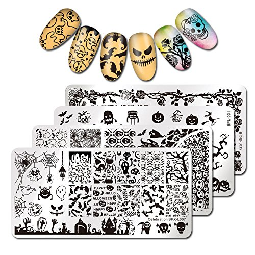Born Pretty 4Pcs Nail Art Stamping Plate Halloween