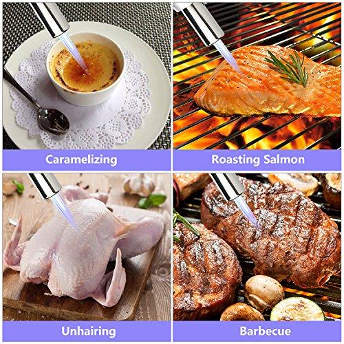Philonext Torcia Cucina Accenditore a Torcia per Cucinare Fiamma Ossidrica Torcia a Gas per Cottura Alimenti Torcia Cucina per il Barbecue (Silver) - 5