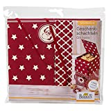 Geschenkschachteln - Sterne: 4 Schachteln mit Hangtag, Einlegeböden und Bänder