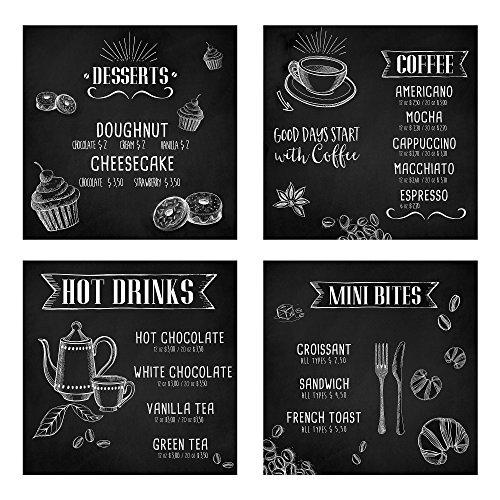 Lupia Set 4 Pezzi Quadri su Tela Kitchen Blackboard 40x40 cm
