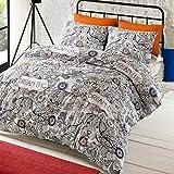 # Ropa de cama Doodle Dream Juego de funda nórdica estampada, diseño de animales y floral art, algodón poliéster, Multicolor, matrimonio