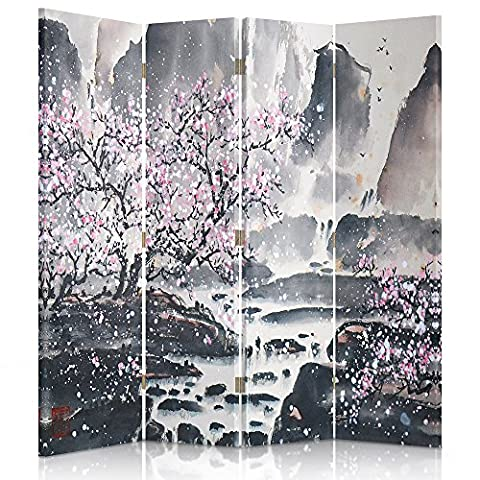 Feeby Frames Canvas Screen, Decorative Room Divider, Paravent, Single sided, 4 panels (145x180 cm) CHERRY, BLOSSOM,