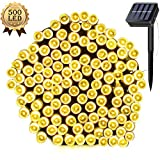 Solar Powered String Lights 50 Meters 500 LED Twinkle Waterproof IP65 171ft Decorative Fairy Light for Christmas Tree,Party,Wedding,Festival Holiday,Indoor,Garden,Patio,Outdoor Decoration (Warm white)
