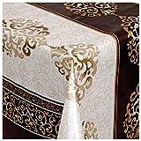 Wachstuch Tischdecke Gartentischdecke mit Fleecerücken Gartentischdecke, Pflegeleicht Schmutzabweisend Abwaschbar Ornamente Verzierung Braun-Creme 110x 140 cm - Größe wählbar