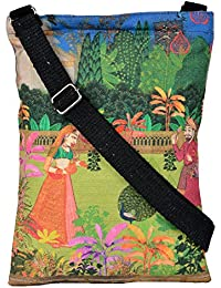Eco Corner - Indian Art Garden - Sling Bag - Small - 100% Cotton/Premium Quality/Printed/2 Pockets/Zip Closure