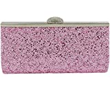 NEW WOMENS SPARKLY GLITTER CLUTCH BAG SILVER GOLD BRIDAL PROM PARTY PURSE (PINK GLITTER)