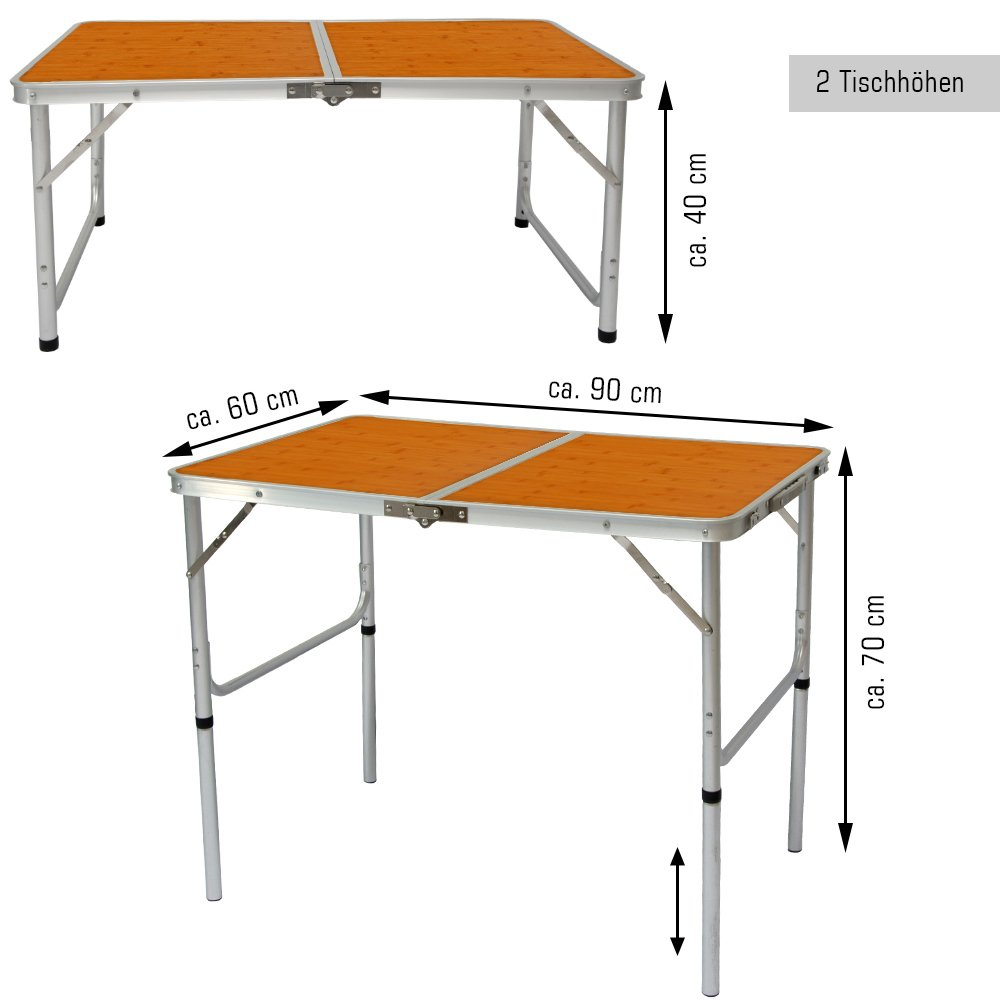 Aluminio camping mesa aprox 90x60cm de altura ajustable mesa de viaje mesa plegable formato maleta
